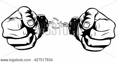Simple Black And White Illustration Of Two Hand Are Free From Handcuffs On White Background. Prisone