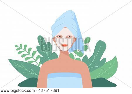 Woman With A Towel On Her Head And Cosmetic Mask On Her Face. Vector Illustration Of The Concept Of