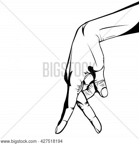 Walking Finger Icon. Number Two. Black And White. Funny Illustration. Outline. White Background. Two