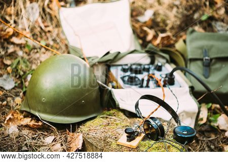 Russian Soviet Portable Radio Transceiver Used By Ussr Red Army Signal Corps In World War Ii. Headph