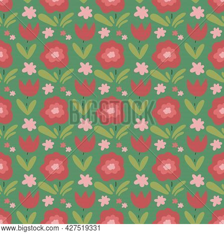 Cute Childish Seamless Pattern With Abstract Flowers And Leaves. Creative Floral Texture For Fabric,