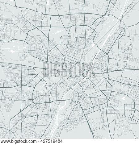 Urban City Map Of Munich. Vector Illustration, Munich Map Grayscale Art Poster. Street Map Image Wit