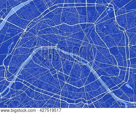 Detailed Map Poster Of Paris City Administrative Area. Cityscape Panorama. Decorative Graphic Touris