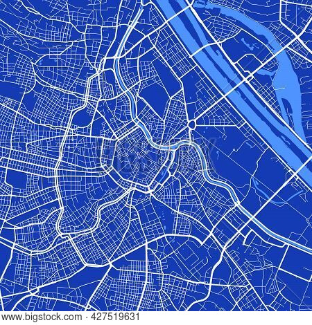 Detailed Map Poster Of Vienna City Administrative Area. Cityscape Panorama. Decorative Graphic Touri