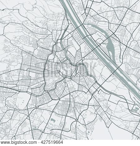 Urban City Map Of Vienna. Vector Illustration, Vienna Map Grayscale Art Poster. Street Map Image Wit