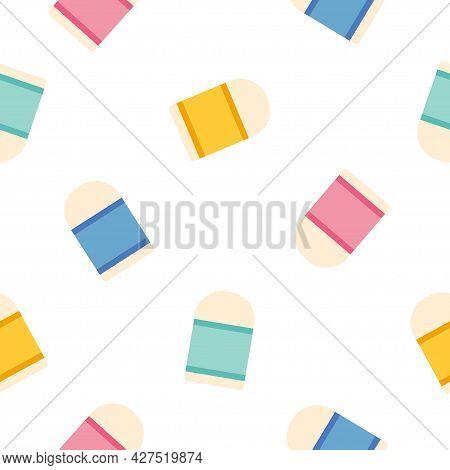 Eraser Icon Pattern Seamless Isolated On White Background.