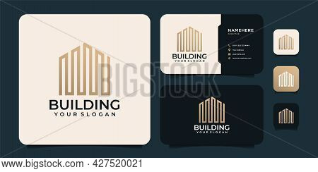 Building Real Estate Logo Design Luxury Creative Simple With Geometric Shape And Business Card. Logo