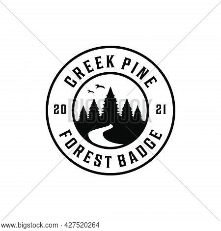 Vintage Adventure Retro Forest Pine River Creek Logo Badge Silhouette . Logo Can Be Used For Icon, B