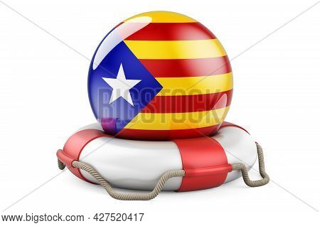 Lifebelt With Catalan Flag. Safe, Help And Protect Of Catalonia Concept. 3d Rendering Isolated On Wh