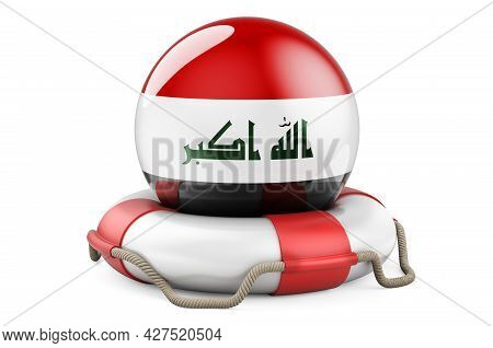 Lifebelt With Iraqi Flag. Safe, Help And Protect Of Iraq Concept. 3d Rendering Isolated On White Bac