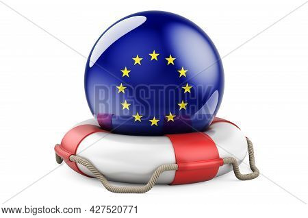 Lifebelt With The Eu Flag. Safe, Help And Protect Of The European Union Concept. 3d Rendering Isolat