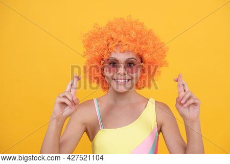 Happy Kid In Sunglasses And Swimsuit Make Wish Cross Fingers, Wish.
