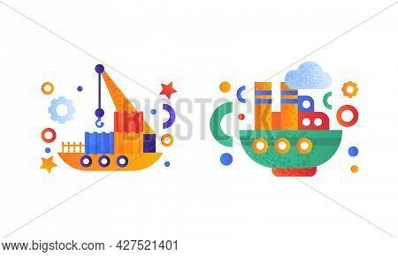Water Transport Set, Floating Crane, Steamboat Icons Flat Vector Illustration