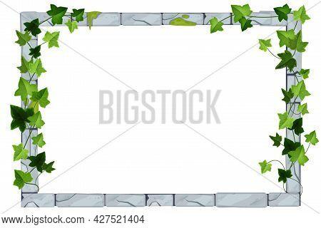 Old Stone Game Frame, Vector Brick Ui Border, Floral Ivy Leaf Illustration, Green Hanging Creeper Pl