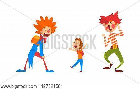 Funny Clowns Character Set, Amusement Friendly Clowns Entertaining Children At Circus Show Vector Il