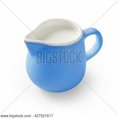 Ceramic Milk Jar Isolated On White Background. Blue Pitcher For Package Design. Porcelain Creamer Pi