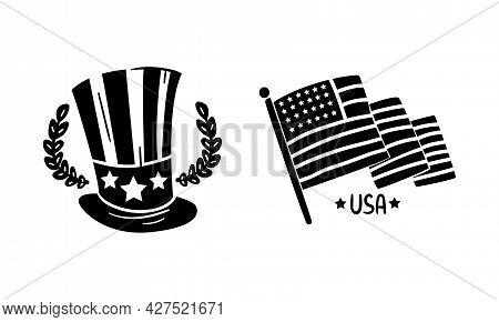 Usa Logo Badges Set, American National Symbols, Patriotic National Independence Day Black Emblems, S
