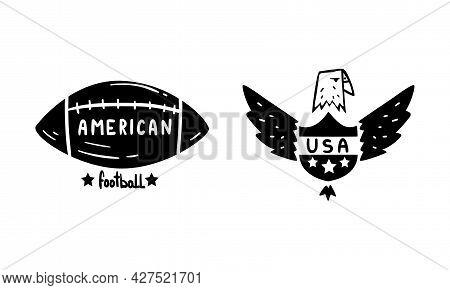 Usa Logo Badges Set, American Football And Bald Eagle National Symbols, Patriotic Or Independence Da