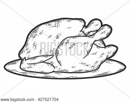 Food, On A Platter Fried Poultry Chicken, Turkey. Sketch Scratch Board Imitation Coloring.
