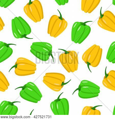 Seamless Pattern Of Green And Yellow Sweet Bell Pepper. Vector Illustration Of Vegetables.