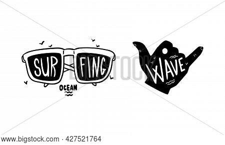 Set Of Surfing Logo Design, Surf Club, Shop Monochrome Labels And Emblems Vector Illustration