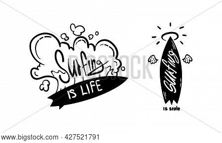 Surfing Logo Set, Surf Club, Shop Monochrome Labels And Emblems Vector Illustration