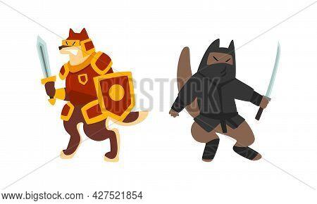 Warlike Animals Set, Knight And Ninja Dog Characters Fighting With Swords Cartoon Vector Illustratio