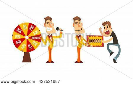Lucky Happy People Winning Jackpot In Lottery Cartoon Vector Illustration