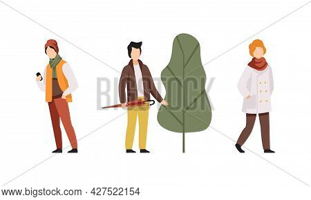 Autumn Time Activities Set, Young Men Wearing Outwear Casual Clothes Walking In Park Flat Vector Ill