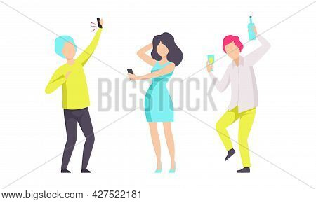 People Dancing And Drinking At Party, Young Man And Woman In Fashionable Outfit Having Fun At Nightc
