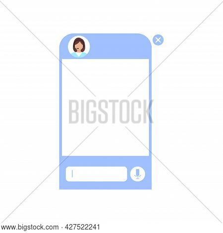 Chat Bot Dialoge Window With Woman In Headset Isolated.