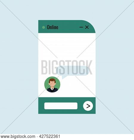 Chat Bot Dialoge Window With Man In Business Suit