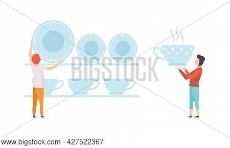 People Putting Huge Kitchenware On Shelf Flat Vector Illustration