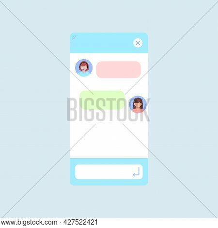 Chat Bot Dialoge Window Interface With Woman Headset Isolated.