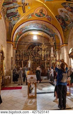 Jerusalem, Israel, July 17, 2021 : The Interior Of The Small Monastery Of St. George On The Border O