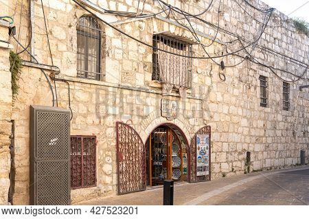 Jerusalem, Israel, July 17, 2021 : Facade Of A Shop Selling Authentic Armenian Ceramics In The Armen