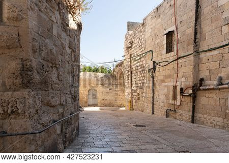 The Quiet Small St James Street In The Armenian Quarter In The Old City Of Jerusalem, Israel