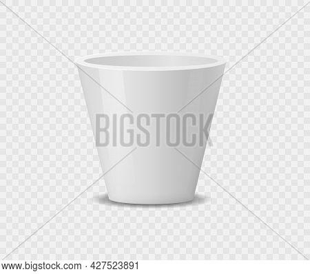 Set Of Realistic White Ceramic Flower Pots.
