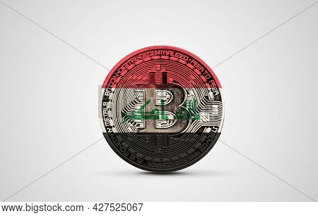 Iraq Flag On A Bitcoin Cryptocurrency Coin. 3d Rendering