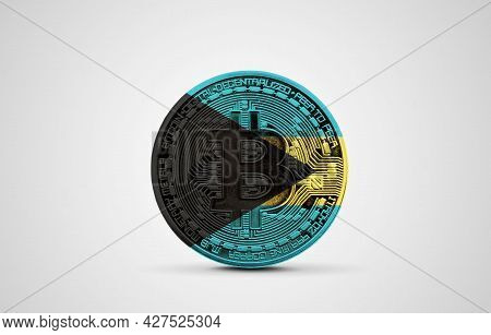 Bahamas Flag On A Bitcoin Cryptocurrency Coin. 3d Rendering