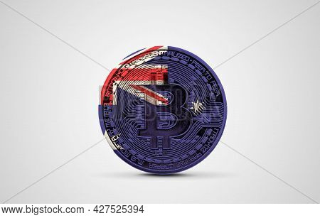 Australia Flag On A Bitcoin Cryptocurrency Coin. 3d Rendering