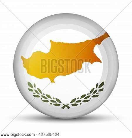 Glass Light Ball With Flag Of Cyprus. Round Sphere, Template Icon. National Symbol. Glossy Realistic