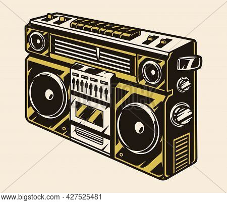 Retro Ghetto Blaster With Radio Buttons And Volume Knobs In Vintage Style Isolated Vector Illustrati