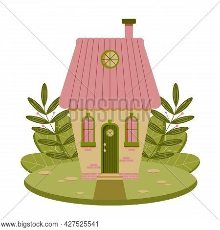 Fairytale Cute Pink And Green House. Vector Flat Illustration.