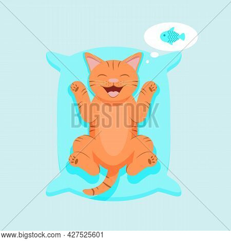 Smiling Cute Cat Lying On A Pillow.