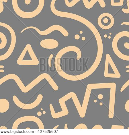 Seamless Abstract Pattern On Gray Background. Vector Doodle Image. Graphic Geometric Ornament. Linea