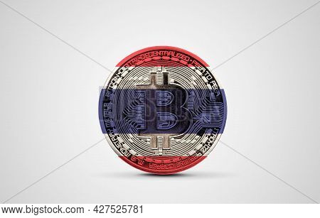 Thailand Flag On A Bitcoin Cryptocurrency Coin. 3d Rendering