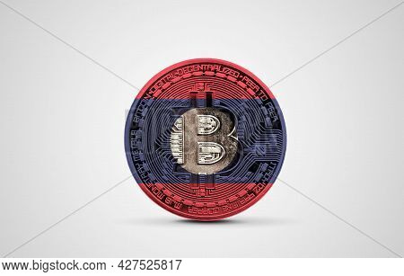 Laos Flag On A Bitcoin Cryptocurrency Coin. 3d Rendering