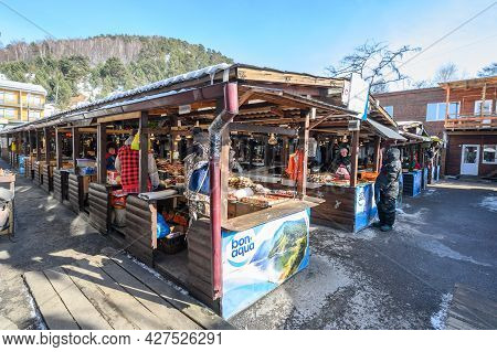 Listvyanka, Russia : 04/03/2020 : View Of Listvyanka Market With Stalls Of Fish For Sale Such As Omu