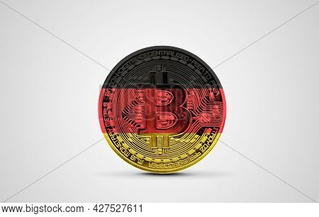 Germany Flag On A Bitcoin Cryptocurrency Coin. 3d Rendering